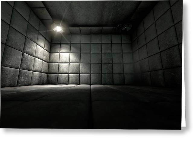 Padded Cell Dirty Spotlight Greeting Card by Allan Swart