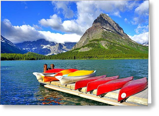 Canoe Greeting Cards - Paddle in Paradise Greeting Card by Steve Luther