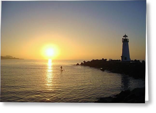 Santa Cruz Surfing Greeting Cards - Paddleboarding at Dawn Greeting Card by Misti Algeo