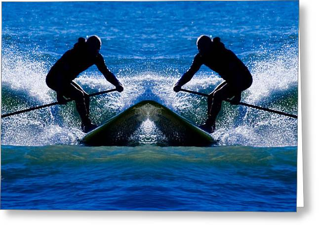 Surf City Greeting Cards - Paddleboarding x 2 Greeting Card by Betsy C  Knapp