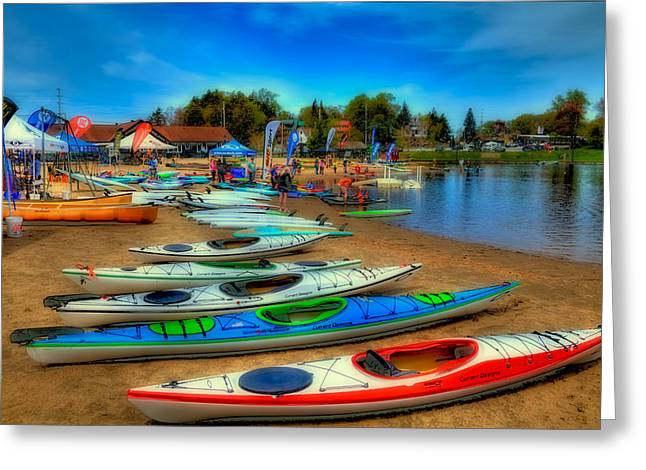 David Patterson Greeting Cards - Paddlefest in Old Forge New York Greeting Card by David Patterson