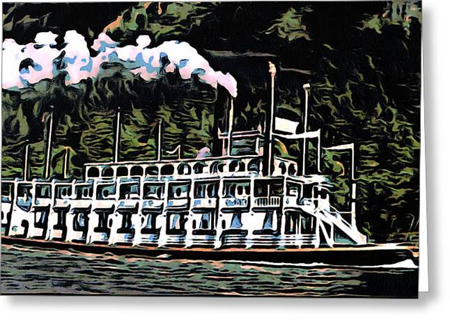 Print; Paddle Steamer Greeting Cards - Paddlewheel Steamer on the Mississippi Greeting Card by Mario Carini