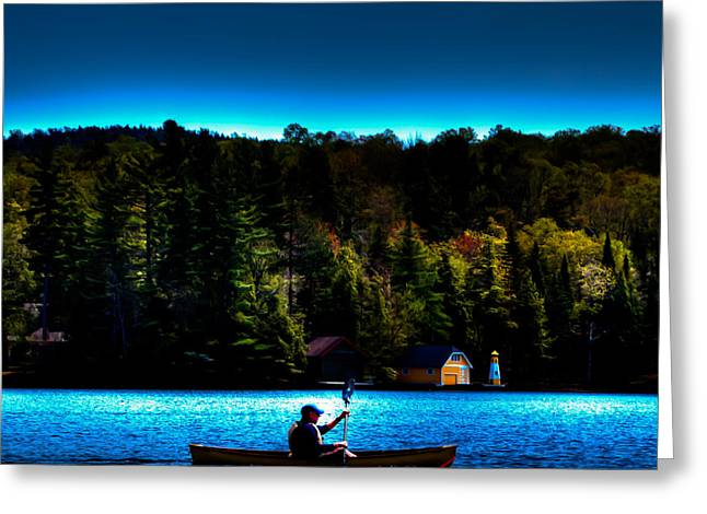 Canoe Photographs Greeting Cards - Paddling at Sunset - Old Forge Pond Greeting Card by David Patterson
