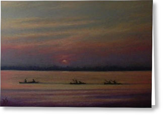 Canoe Pastels Greeting Cards - Paddling Back Greeting Card by Deb Spinella