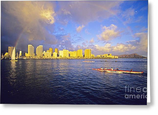 Paddling Beneath Rainbow Greeting Card by Carl Shaneff - Printscapes