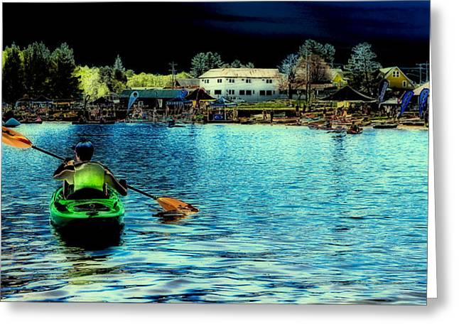 Canoe Greeting Cards - Paddling in Old Forge Pond Greeting Card by David Patterson