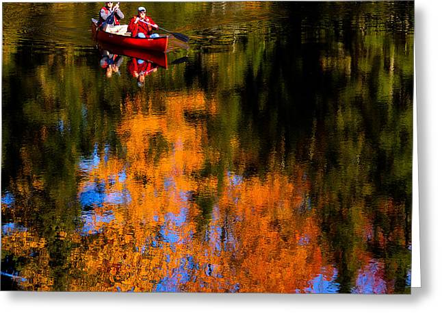 Canoe Photographs Greeting Cards - Paddling the Moose River in Autumn Greeting Card by David Patterson