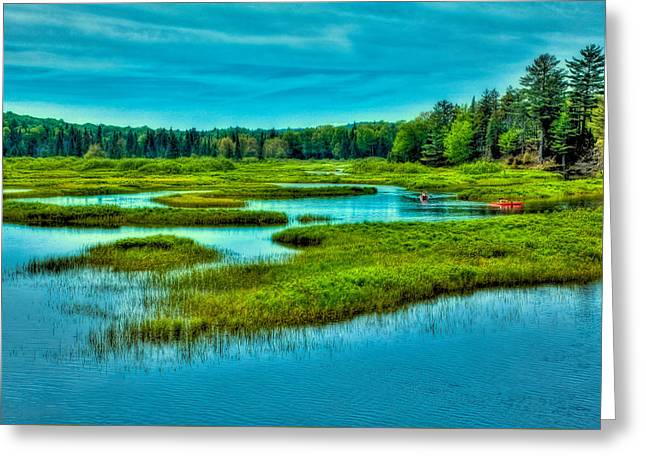 Canoe Greeting Cards - Paddling the North Branch Greeting Card by David Patterson