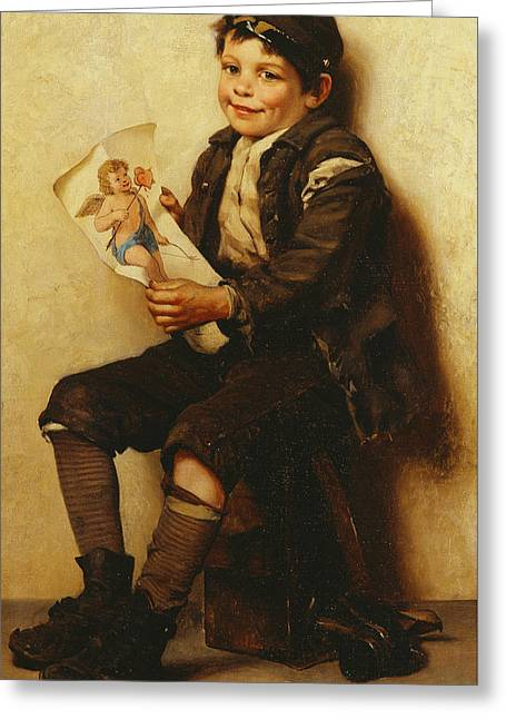Love Letter Paintings Greeting Cards - Paddys Valentine Greeting Card by John George Brown