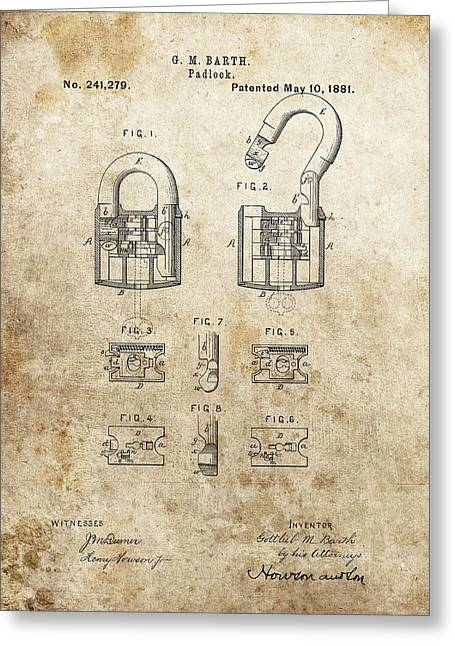 Old Lock Greeting Cards - Padlock Patent Greeting Card by Dan Sproul