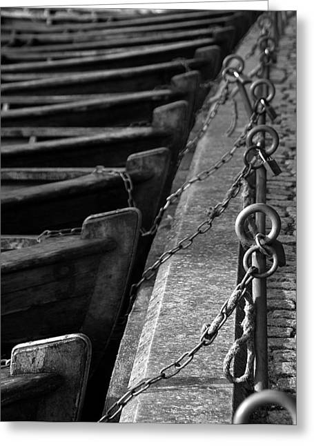 Fyn Greeting Cards - Padlocked Boats Greeting Card by Robert Lacy