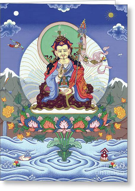 Thangka Greeting Cards - Padmasambhava Greeting Card by Carmen Mensink