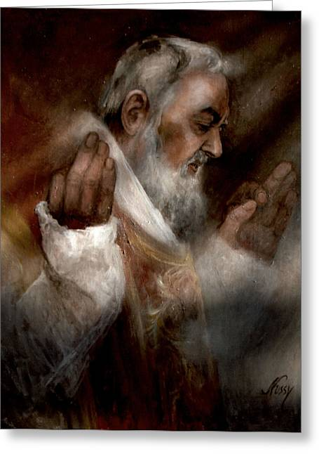 Padres Greeting Cards - Padre Pio at Nones Greeting Card by Elisabeth Nussy Denzler von Botha