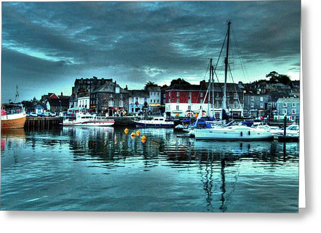 Fishing Creek Greeting Cards - Padstow Harbour at dusk Greeting Card by Rob Hawkins