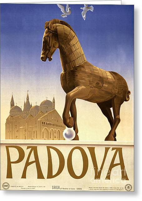 Europe Mixed Media Greeting Cards - Padua Padova Italy Vintage Travel Poster Restored Greeting Card by Carsten Reisinger
