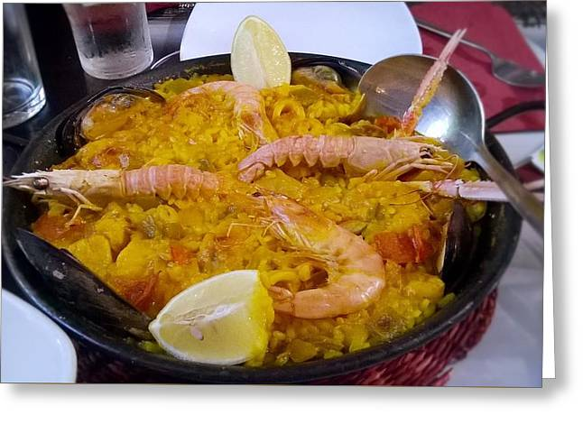 Paella Greeting Cards - Paella Greeting Card by Julie Pacheco-Toye