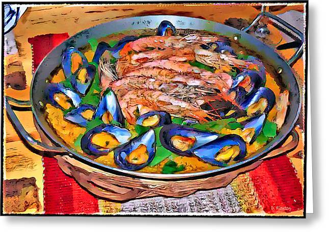 Paella Greeting Cards - Paella-Mussel and Shrimp Greeting Card by Dee Flouton