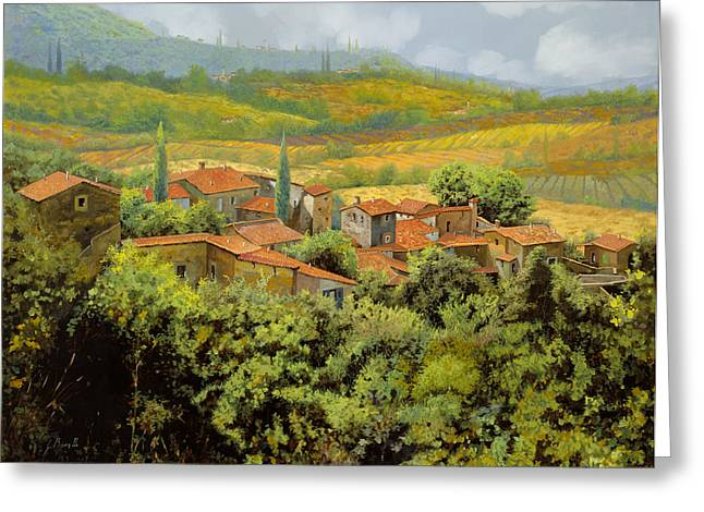 Hill Greeting Cards - Paesaggio Toscano Greeting Card by Guido Borelli