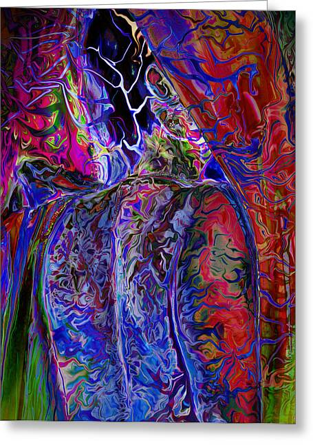 Self-portrait Greeting Cards - Pain Slow Death Six Greeting Card by Karen Musick