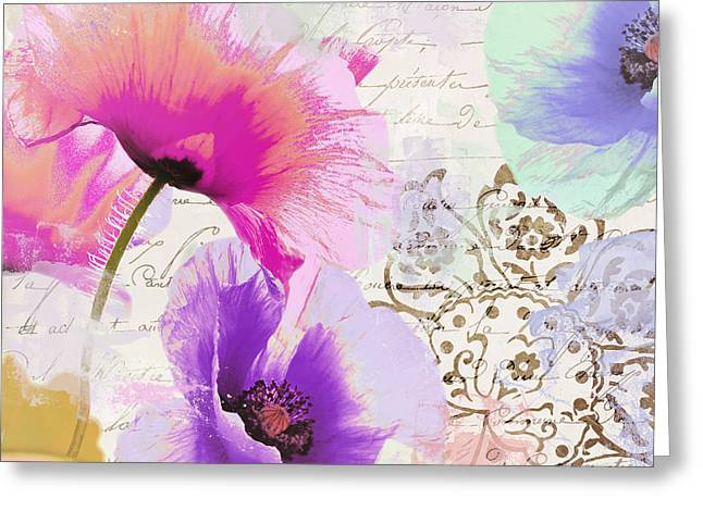 Splashy Paintings Greeting Cards - Paint and Poppies Greeting Card by Mindy Sommers