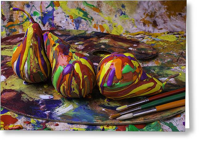 Dripping Paint Greeting Cards - Paint Dripping Pears Greeting Card by Garry Gay