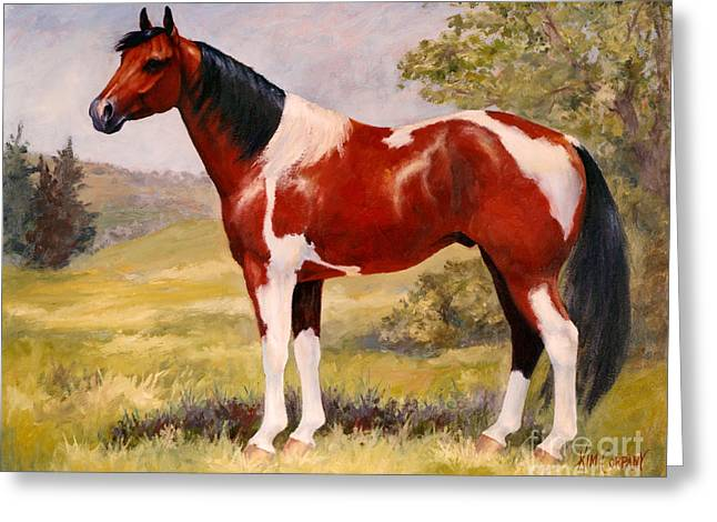 Paint Horse Gelding Portrait Oil Painting - Gizmo Greeting Card by Kim Corpany