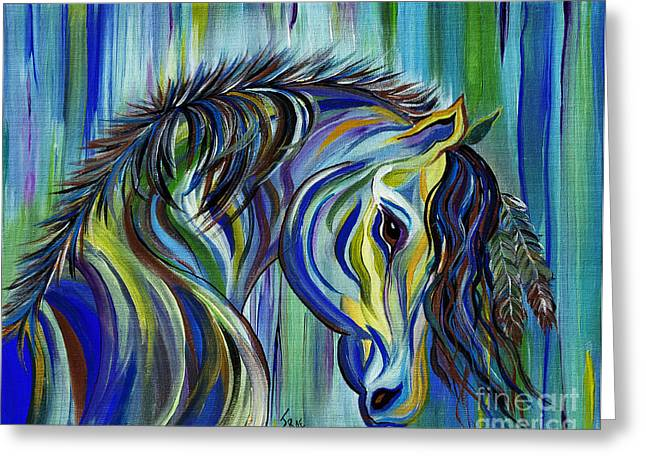 Black Painted Edges Greeting Cards - PAINT Native American Horse Greeting Card by Janice Rae Pariza