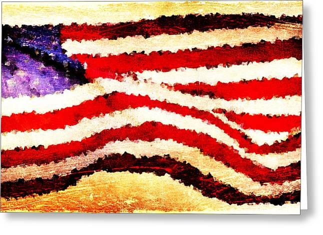 Painted American Flag Greeting Card by Andrea Barbieri