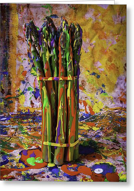 Blue Drip Greeting Cards - Painted Asparagus Greeting Card by Garry Gay