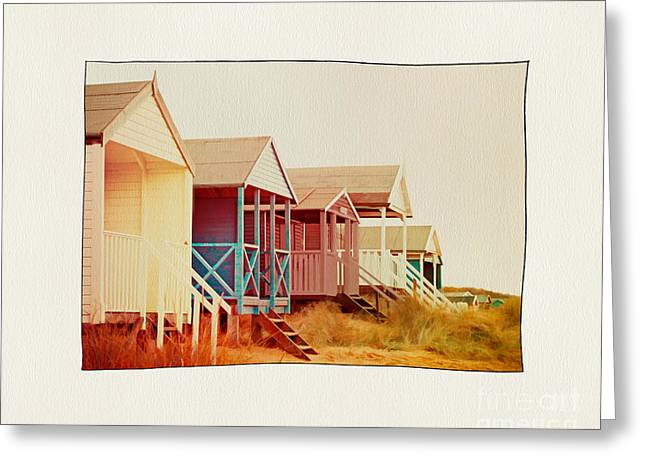 Shabbychic Greeting Cards - Painted Beach Huts. Greeting Card by ShabbyChic fine art Photography