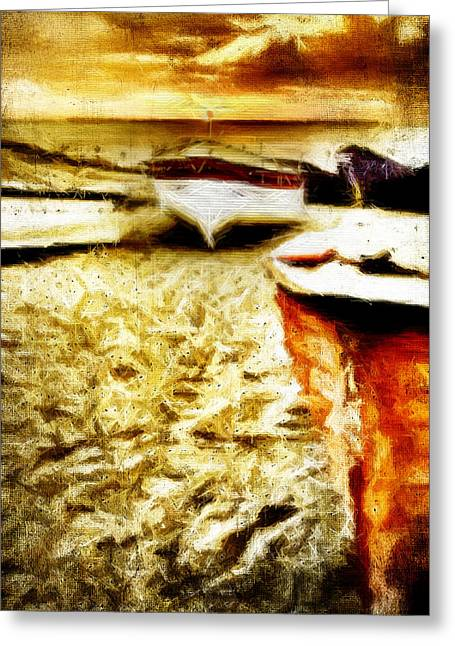 Seaside Digital Greeting Cards - Painted Boats Greeting Card by Andrea Barbieri
