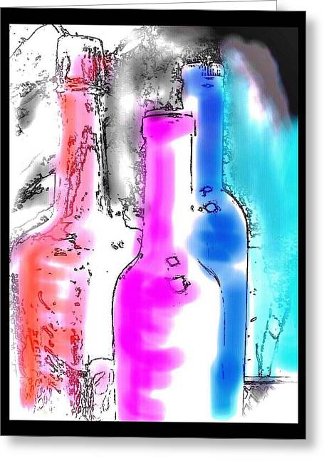 Glass Bottle Greeting Cards - Painted Bottles Greeting Card by Kathy Franklin