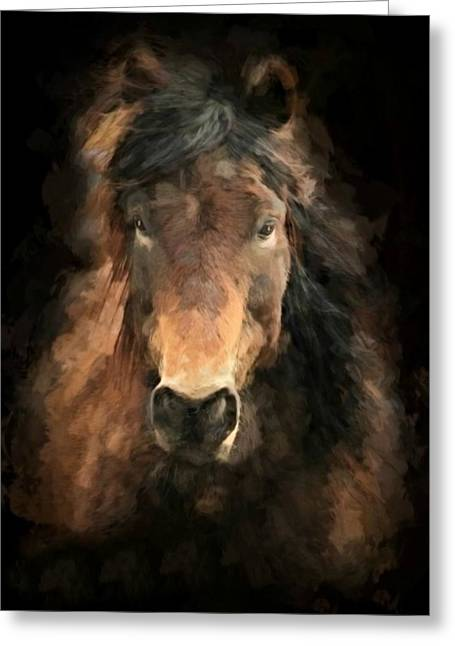 Stein Greeting Cards - Painted Brown Horse Greeting Card by Valerie Stein