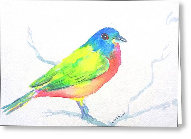Blue And Green Greeting Cards - Painted Bunting Bird Male Greeting Card by Carlin Blahnik