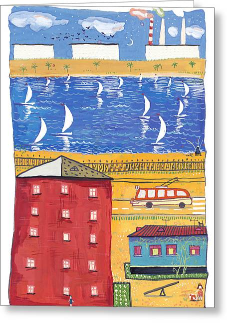 Blue Grapes Drawings Greeting Cards - Painted colorful city - drawing gouache  Greeting Card by Anastasiia Kononenko