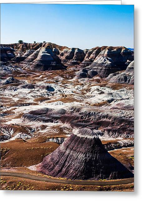 Petrified Forest Arizona Greeting Cards - Painted Desert Purple Peak Greeting Card by David Waldo