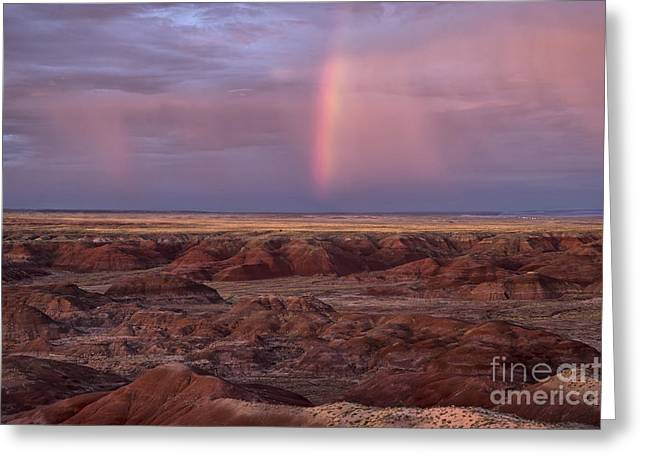 Petrified Forest National Park Greeting Cards - Painted Desert Rainbow Greeting Card by Melany Sarafis