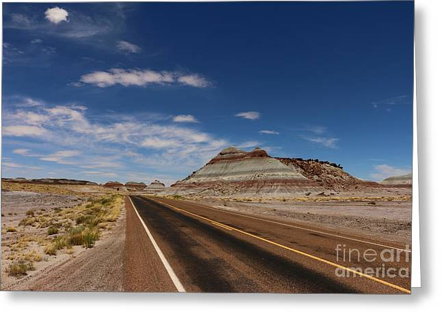 Painted Desert Road Greeting Card by Christiane Schulze Art And Photography