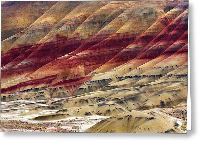 Foothill Greeting Cards - Painted Hills Contour Greeting Card by Mike  Dawson