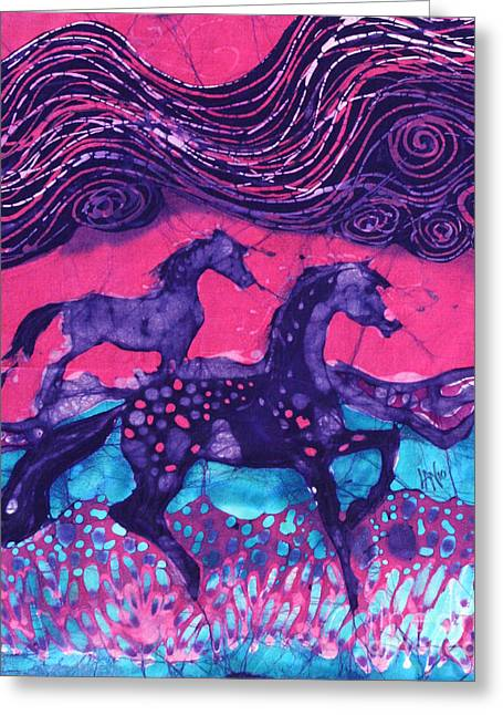 Equine Tapestries - Textiles Greeting Cards - Painted Horses Below the Wind Greeting Card by Carol  Law Conklin