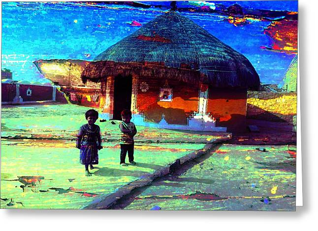 Decorate Greeting Cards - Painted Houses Cowdung Mud Round Huts Kids India Rajasthan 1d Greeting Card by Sue Jacobi