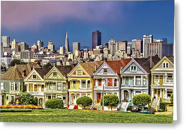 Downtown San Francisco Greeting Cards - Painted Ladies Greeting Card by Maria Coulson