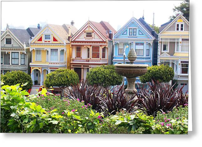 Victorian Greeting Cards - Painted Ladies San Francisco Greeting Card by Cheryl Del Toro