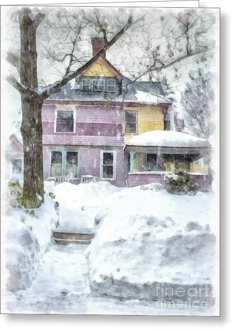 Victorian Photographs Greeting Cards - Painted Lady Snowstorm Greeting Card by Edward Fielding