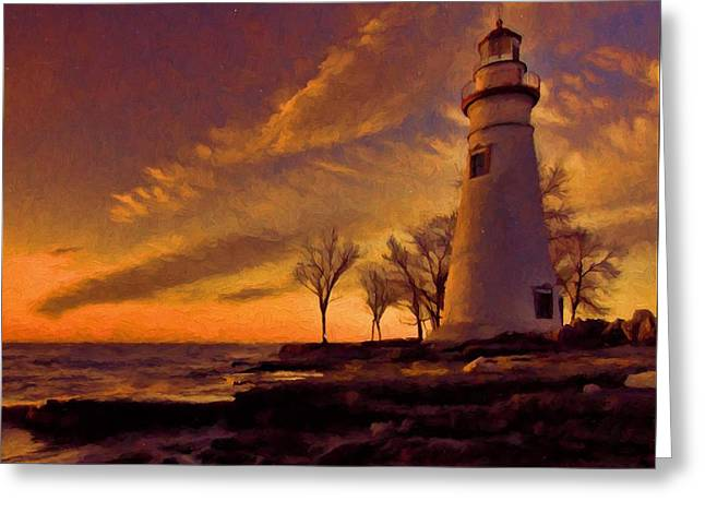 Painted Marblehead Lighthouse Greeting Card by Dan Sproul