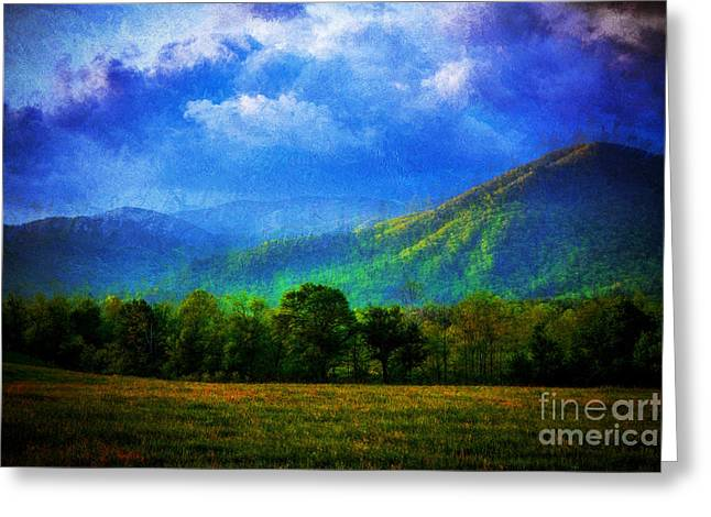 Paint Photograph Greeting Cards - Painted Mountain Greeting Card by Dave Bosse
