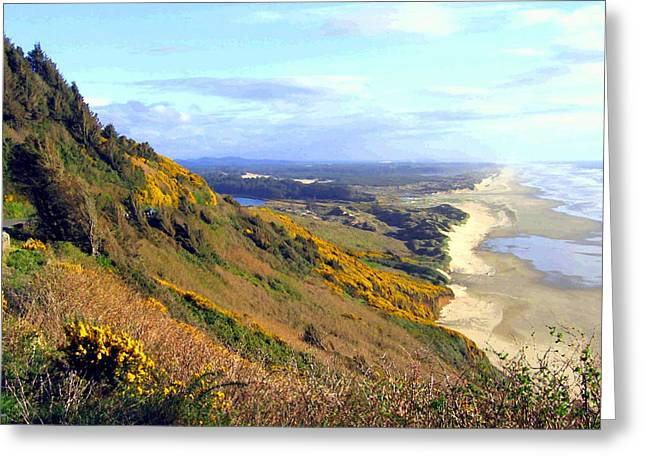 Ocean Vista Digital Art Greeting Cards - Painted Oregon Coast Greeting Card by Will Borden