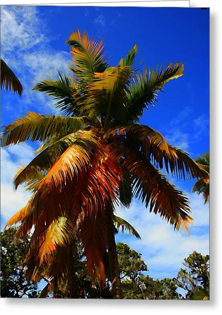 Best Ocean Photography Greeting Cards - Painted Palm Greeting Card by Perry Webster
