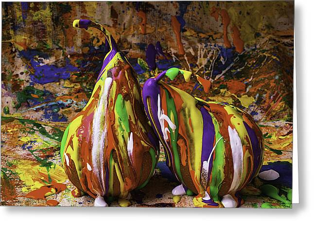 Blue Drip Greeting Cards - Painted Pears Greeting Card by Garry Gay