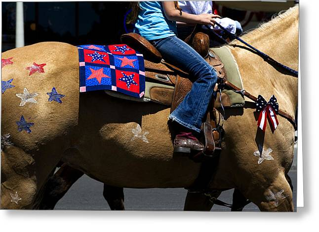 Painted Pony Independence Day Greeting Card by Lorraine Devon Wilke